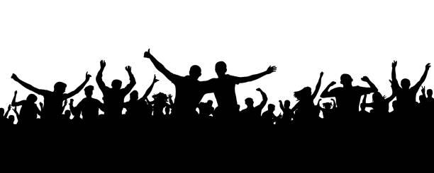 illustrations, cliparts, dessins animés et icônes de silhouette de foule de gens joyeux. foule joyeuse. amis de joyeux groupe de jeunes gens dansant fête musicale, concert, discothèque. les amateurs de sports, applaudissements, réjouissant. vecteur sur fond blanc - cage animal nuit