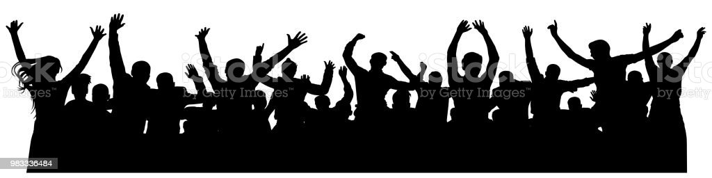 Crowd cheerful people silhouette. Joyful mob. Happy group of young people dancing at musical party, concert, disco. Sports fans, applause, cheering. Vector on white background. Celebrating dancing vector art illustration