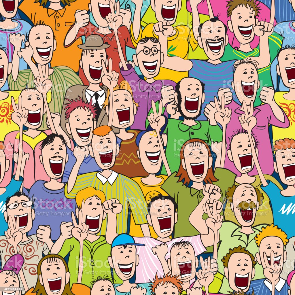 Cheering Fans Cartoon : Crowd cheering seamless stock vector art more images of