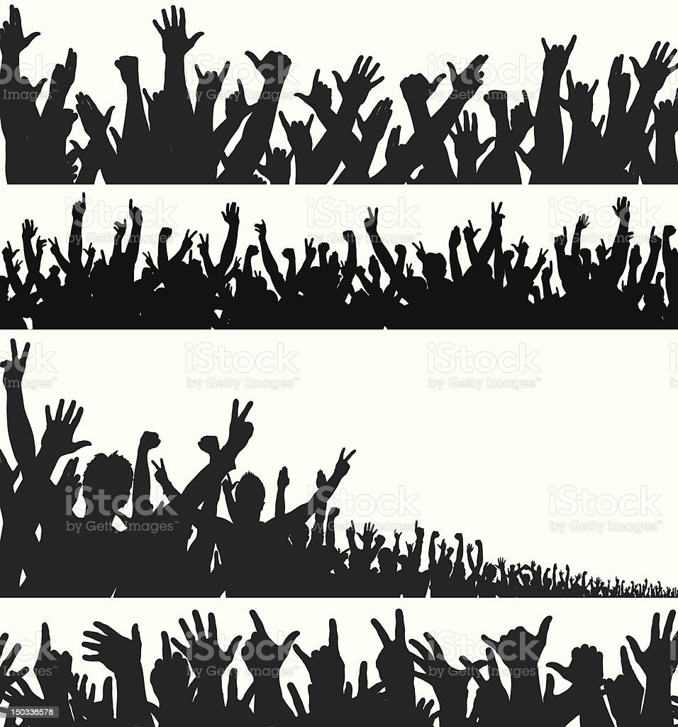 Crowd foregrounds vector art illustration