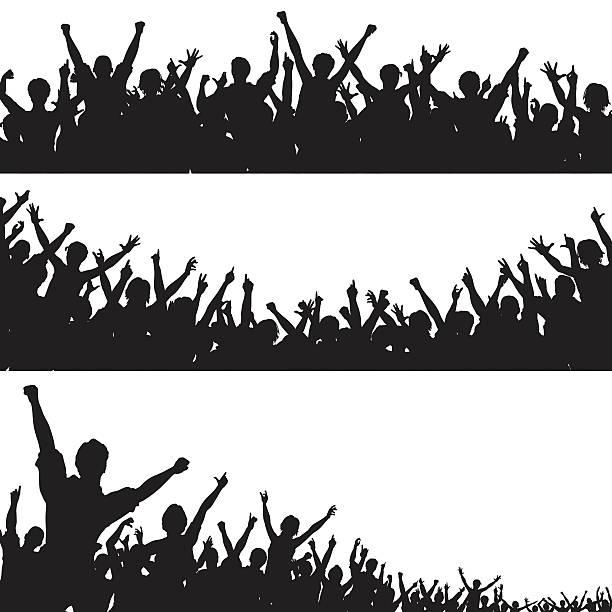 stockillustraties, clipart, cartoons en iconen met crowd foregrounds - cheering