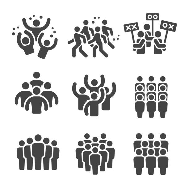 crowd icon crowd,group icon set crowd of people stock illustrations