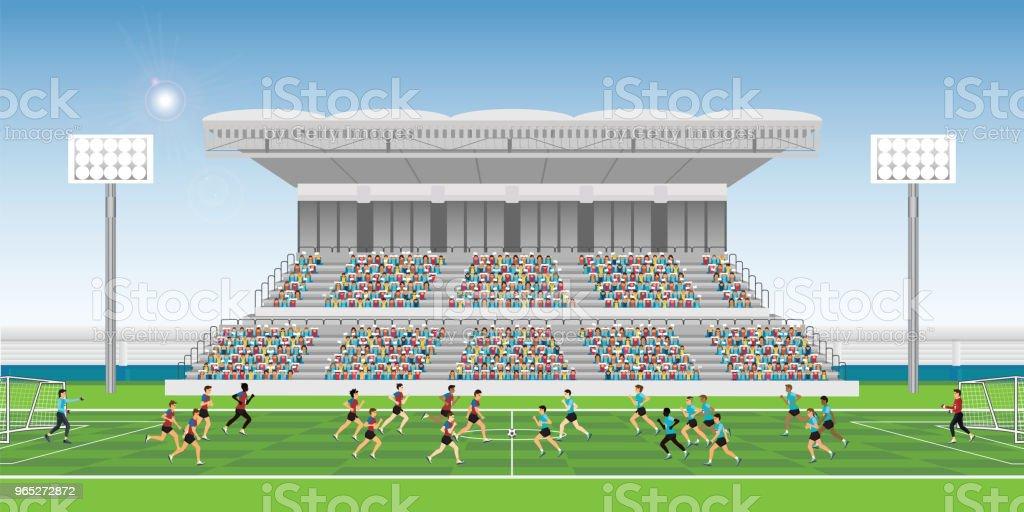 Drangen Sie Sich Im Stadion Tribune Jubeln Fussball Match