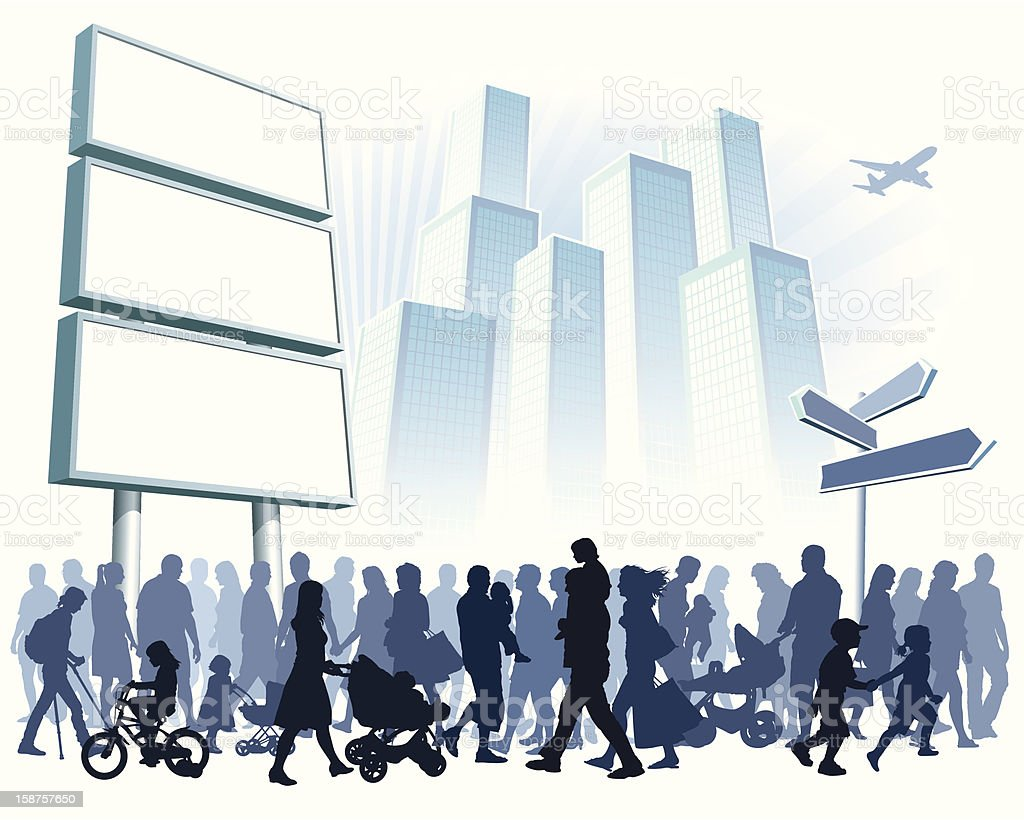 Crowd in town vector art illustration