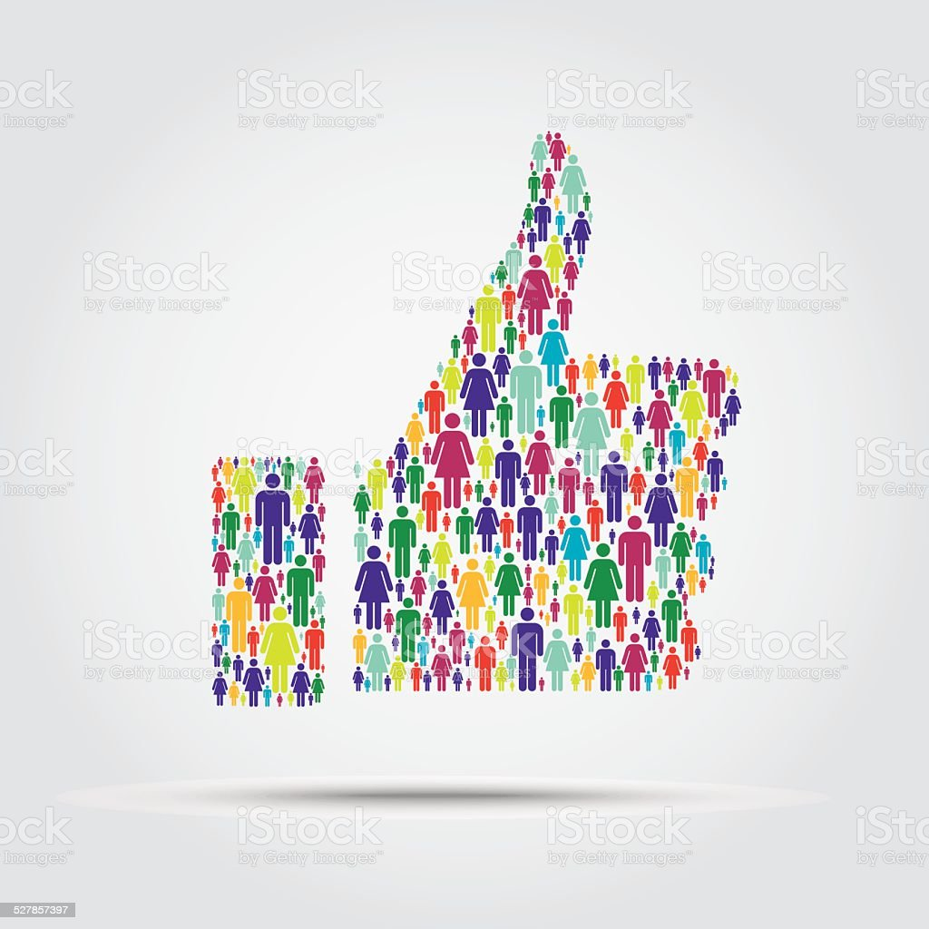 Crowd into a thumb up symbol vector art illustration