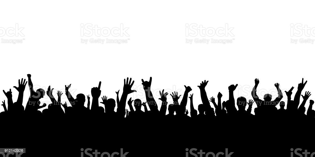 Crowd of applause at the concert isolated silhouette. Cheering people. vector art illustration