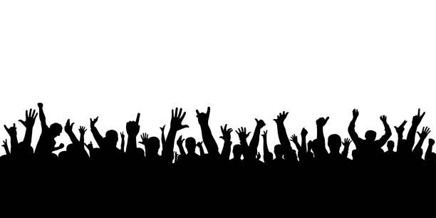 コンサートの孤立したシルエットで拍手の観客。人々 を応援します。 - 観客点のイラスト素材/クリップアート素材/マンガ素材/アイコン素材