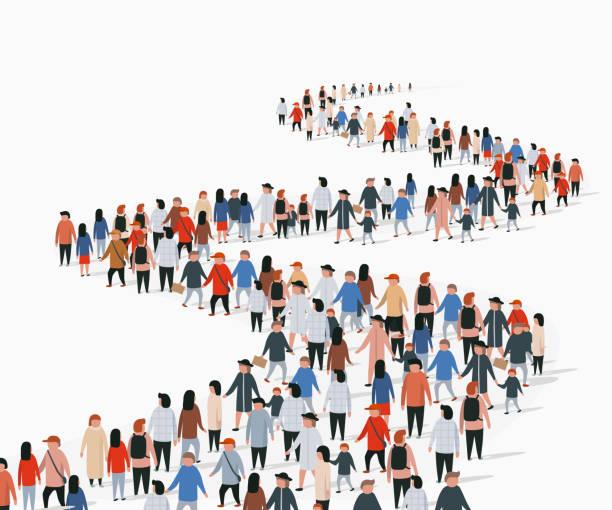 ilustrações, clipart, desenhos animados e ícones de multidão de povos do buisness que estão em uma linha. as pessoas se aglomeram. - esperar