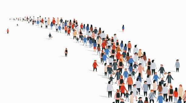 Crowd of buisness people standing in a line. People crowd. Crowd of buisness people standing in a line. People crowd. Vector illustration crowd of people stock illustrations