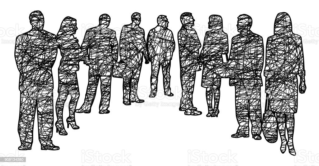 Crowd Of Business People Scribble vector art illustration