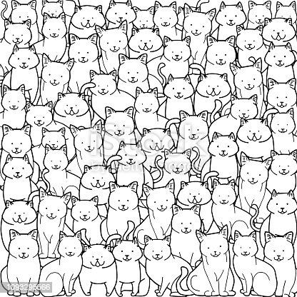A crowd of cats in doodle style on white background.