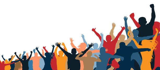 stockillustraties, clipart, cartoons en iconen met menigte van vrolijke mensen. geïsoleerde, los van elkaar. handen omhoog. groep mensen. verhogen, geneigd, onder de helling - cheering