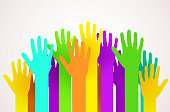 Crowd of colorful happy hands. Volunteering, charity or voting concept.
