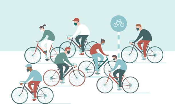 Crowd of cyclist on daily exercise wearing protective face masks during the coronavirus COVID-19 outbreak vector art illustration