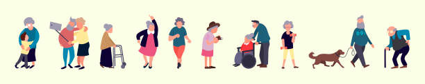 crowd of elderly people. senior outdoor activities. old men and women walking. recreation and leisure senior activities concept - old man illustration pictures stock illustrations, clip art, cartoons, & icons