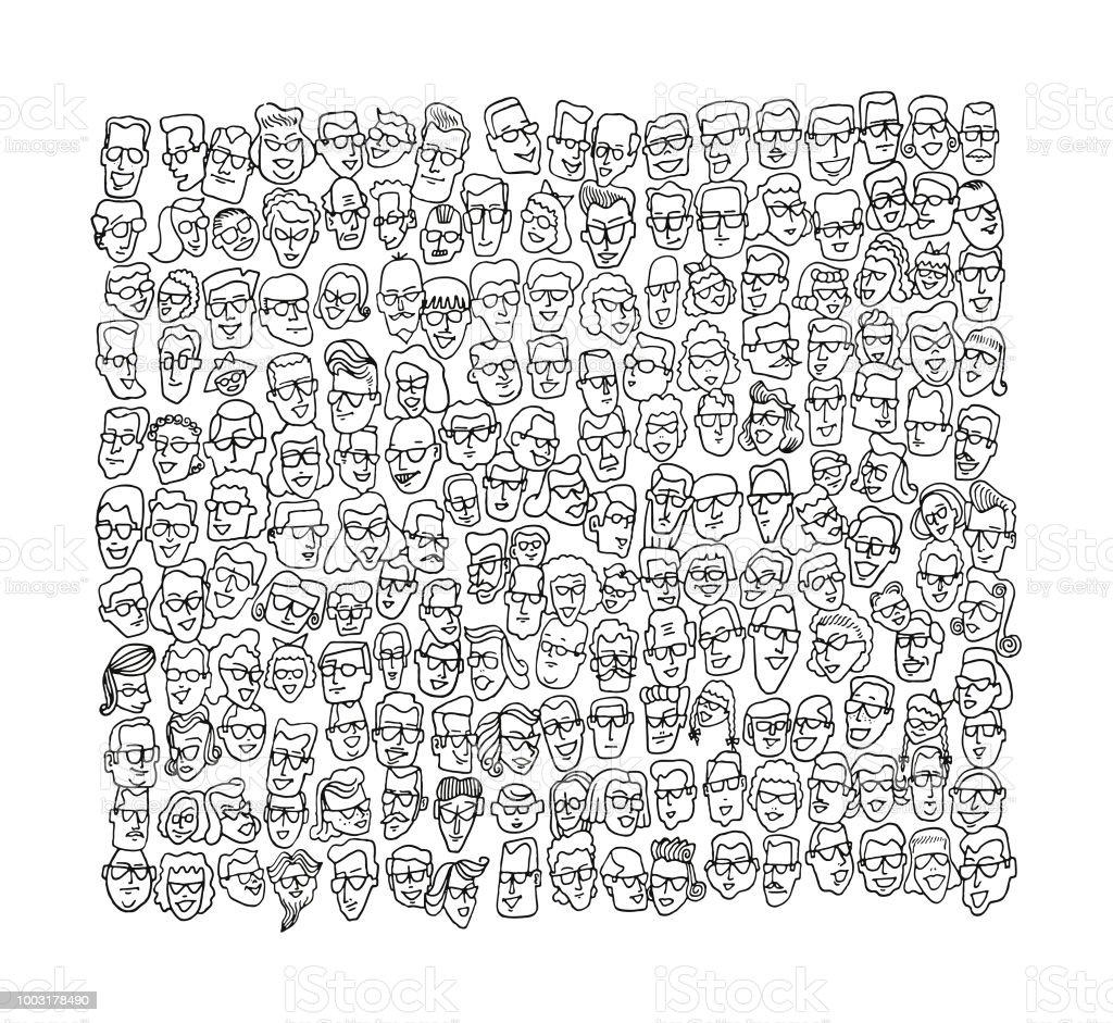 Menge von Gesichter – Vektorgrafik