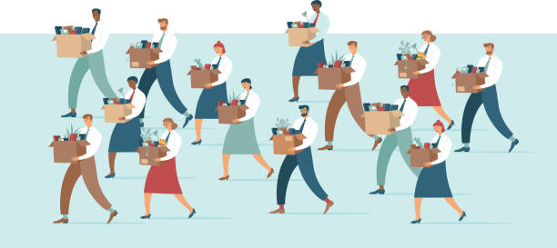 Crowd of Fired sad people carrying a boxes with office belongings. Crisis, dismissal, unemployment, jobless and employee job reduction due to corona crisis concept vector art illustration