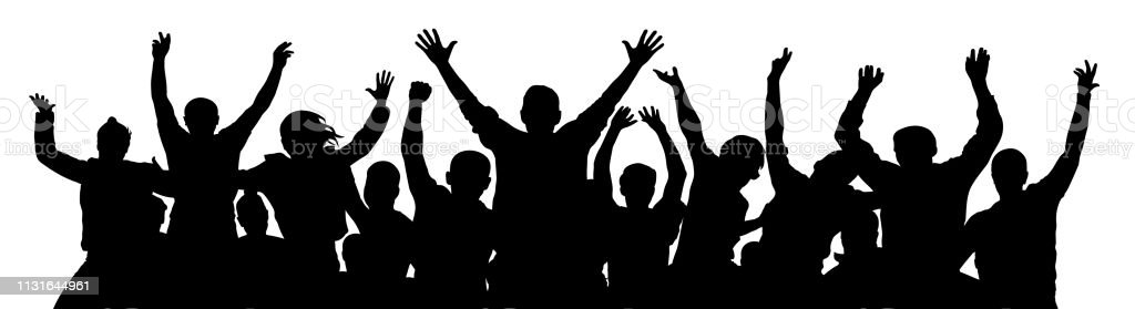 Crowd of fun people. A young group of people raised their hands up. Silhouette of vecton illustration Crowd of fun people. A young group of people raised their hands up. Silhouette of vecton illustration Adult stock vector