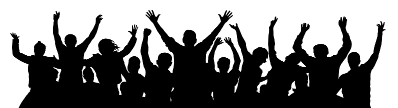 Crowd Of Fun People A Young Group Of People Raised Their Hands Up Silhouette Of Vecton Illustration Stock Illustration - Download Image Now