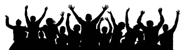 ilustrações de stock, clip art, desenhos animados e ícones de crowd of fun people. a young group of people raised their hands up. silhouette of vecton illustration - adeptos