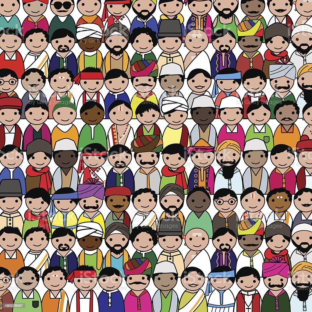 Crowd of Indian men vector avatar vector art illustration