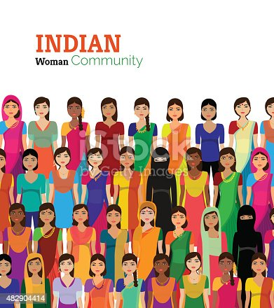 istock Crowd of Indian women vector avatars 482904414