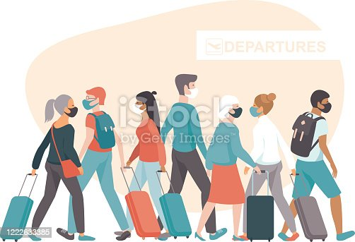 istock Crowd of passengers wearing protective medical masks in airport departure area. Travel during coronavirus COVID-19 disease outbreak. 1222633385