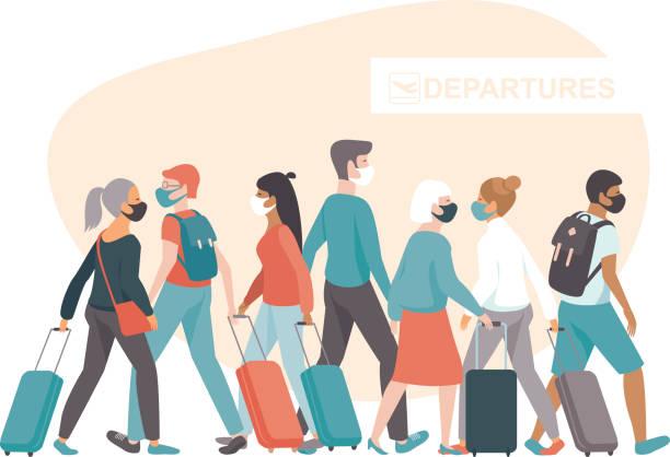 Crowd of passengers wearing protective medical masksin airport departure area. Travel during coronavirus COVID-19 disease outbreak. vector art illustration