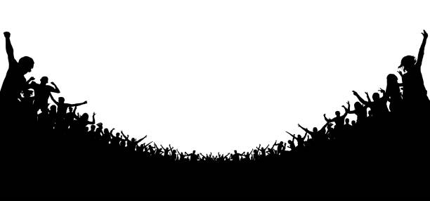 crowd of people applauded silhouette. cheerful clapping party. soccer background stadium. sports fans. fans at the concert. applause audience - baseball stadium stock illustrations, clip art, cartoons, & icons
