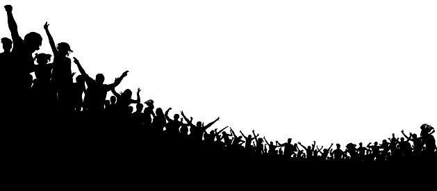 Menge Von Menschen Applaudierten Sportfans Fans Beim Konzert Applauspublikum Сheerful Klatschenden Partei Stock Vektor Art und mehr Bilder von Aufführung