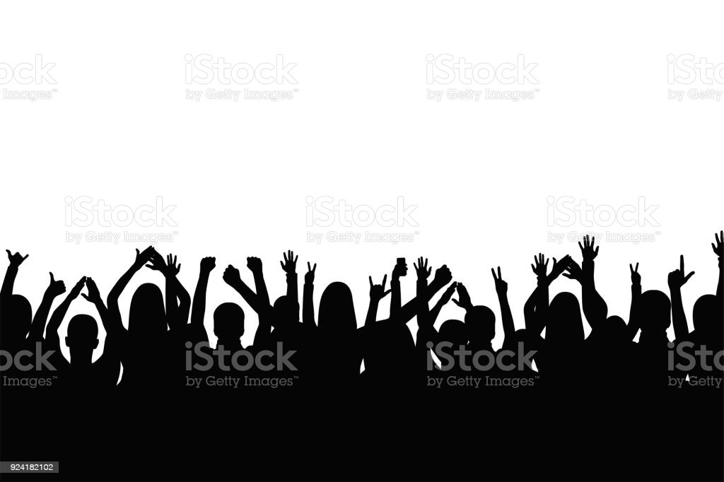 Crowd of people are applauding. People show gestures of happiness and support with raised hands vector art illustration