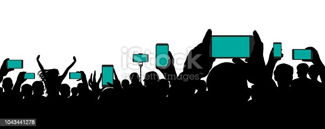 Crowd of people at a concert, keep smartphone, event. Cheerful audience. Hands holding a mobile phone. Silhouette vector on white background