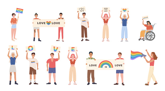 Crowd of people at pride parade. Men and women at demonstration for LGBT rights. Group of gay, lesbian, bisexual, transgender activists. Sexual diversity. Set of Vector characters for pride month.