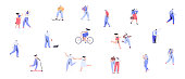 Different walking and running people side view. Male and female. Flat vector characters isolated on white background.