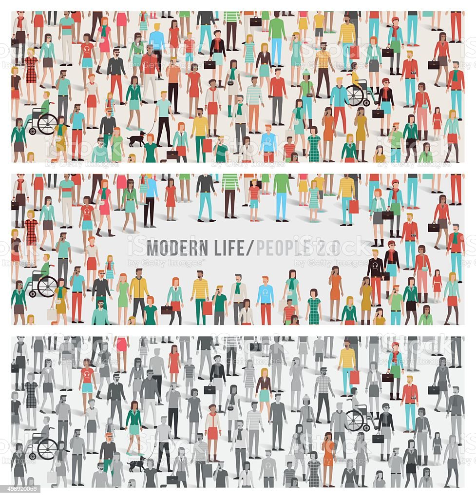 Crowd of people banners set vector art illustration