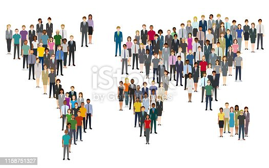 Crowd of people composing a world map. Created with adobe illustrator.