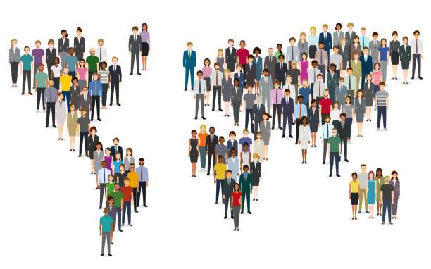 Menschenmenge von Menschen, die eine Weltkarte komponieren – Vektorgrafik
