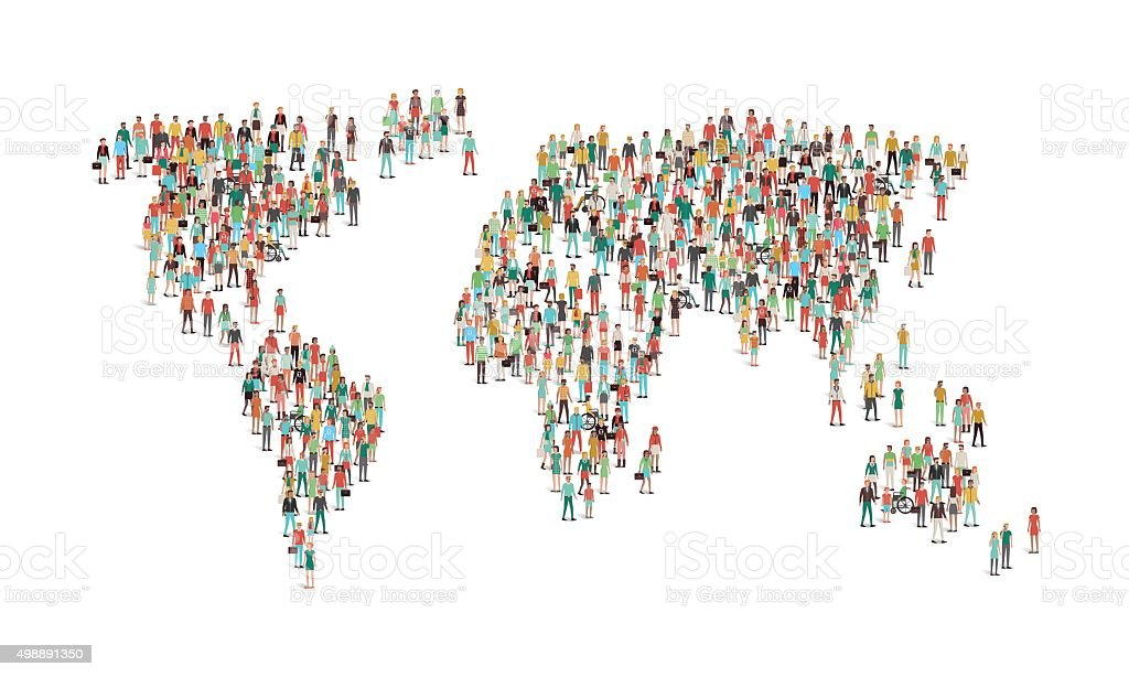 Crowd of people composing a world map vector art illustration