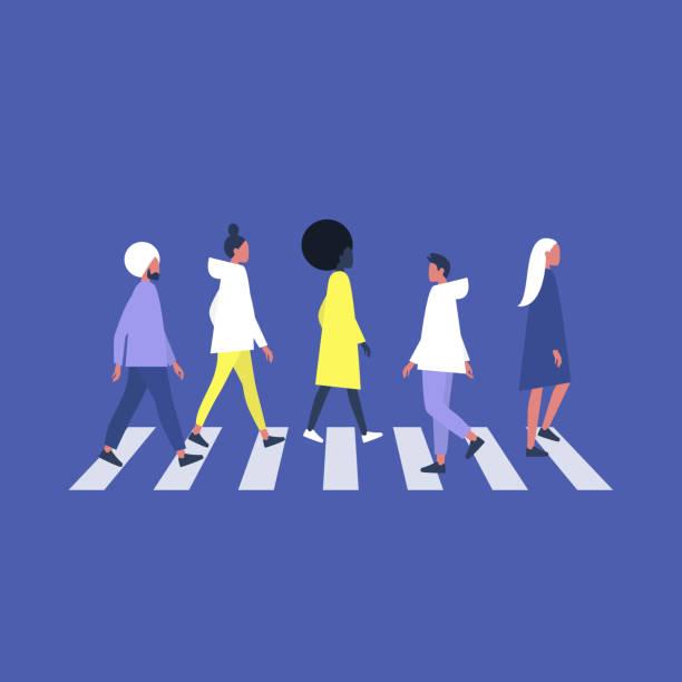 歩行者シマウマを横断する人々の群衆、都市のシーン - 通勤点のイラスト素材/クリップアート素材/マンガ素材/アイコン素材