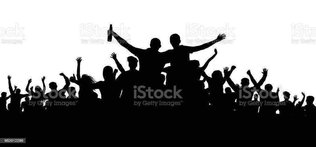 Menschenmenge, Freunden bei einer Party Silhouette. Konzert, Festival, Musik. Jubeln Sie Menge Leute. Publikum jubelnden Beifall. Fröhliche Sportfan. Mob Fußball Banner. Mann mit einer Flasche Bier, Alkohol – Vektorgrafik