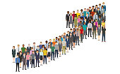 Crowd of people gathered in a grossing arrow shape. Created with adobe illustrator.