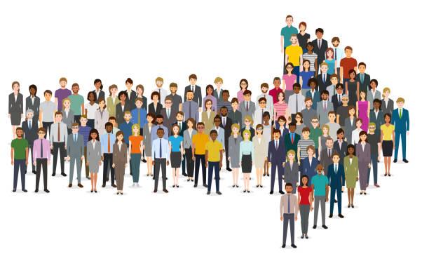 Menschenmenge in Pfeilform versammelt – Vektorgrafik