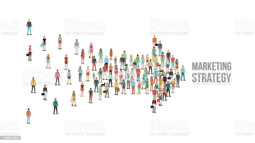 Crowd of people gathered in an arrow shape vector art illustration