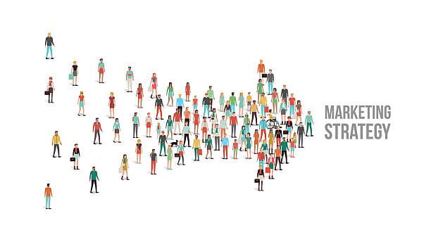 ilustraciones, imágenes clip art, dibujos animados e iconos de stock de multitud de gente reunida en forma de flecha - reunión evento social