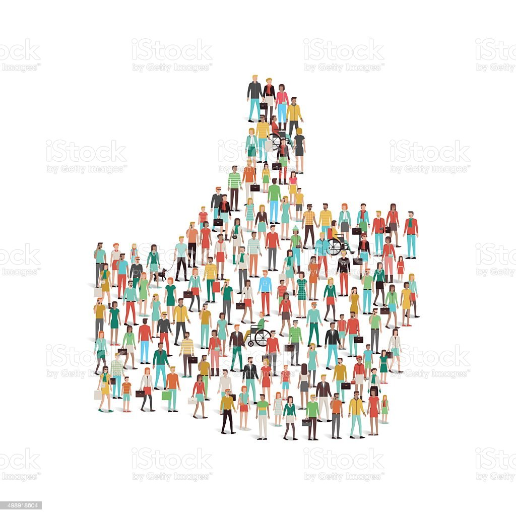 Crowd of people gathering in a thumbs up shape vector art illustration