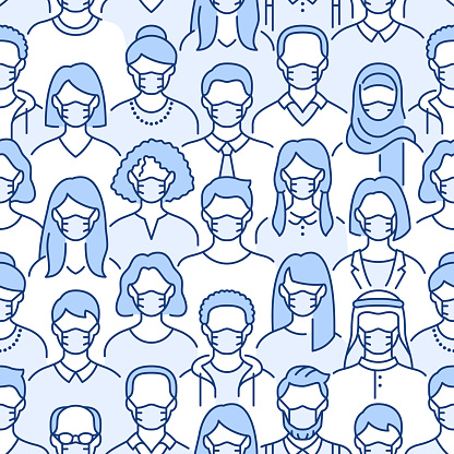 Crowd of people in face masks seamless pattern. Coronavirus prevention vector background with diverse men, woman line icons in medical respirators, virus protection. Blue white color illustration