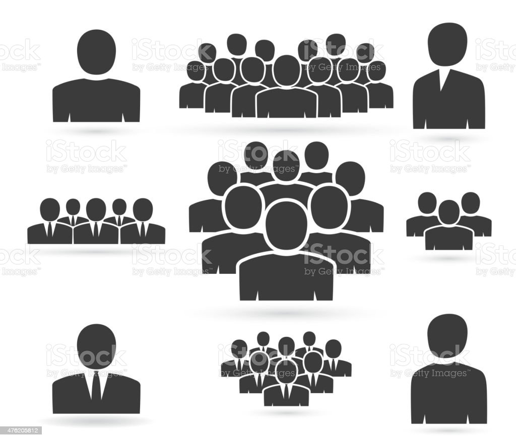 Crowd of people in team icon silhouettes vector art illustration