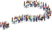 Isometric flat 3D isolated concept vector Infographic chart consisting of a crowd of people In the form of a question mark