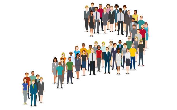 Menschenmenge in Form eines Fragesymbols – Vektorgrafik