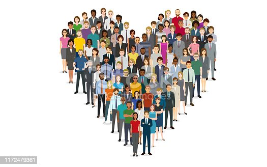 istock Crowd of people in the shape of a heart 1172479361